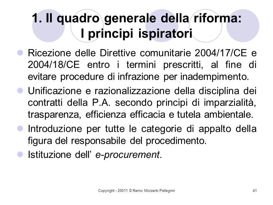 Copyright - 20011 © Remo Morzenti Pellegrini40 Premessa: le recenti novità Il codice dei contratti (di cui al d.lgs. 163/2006), nel frattempo, ha subi