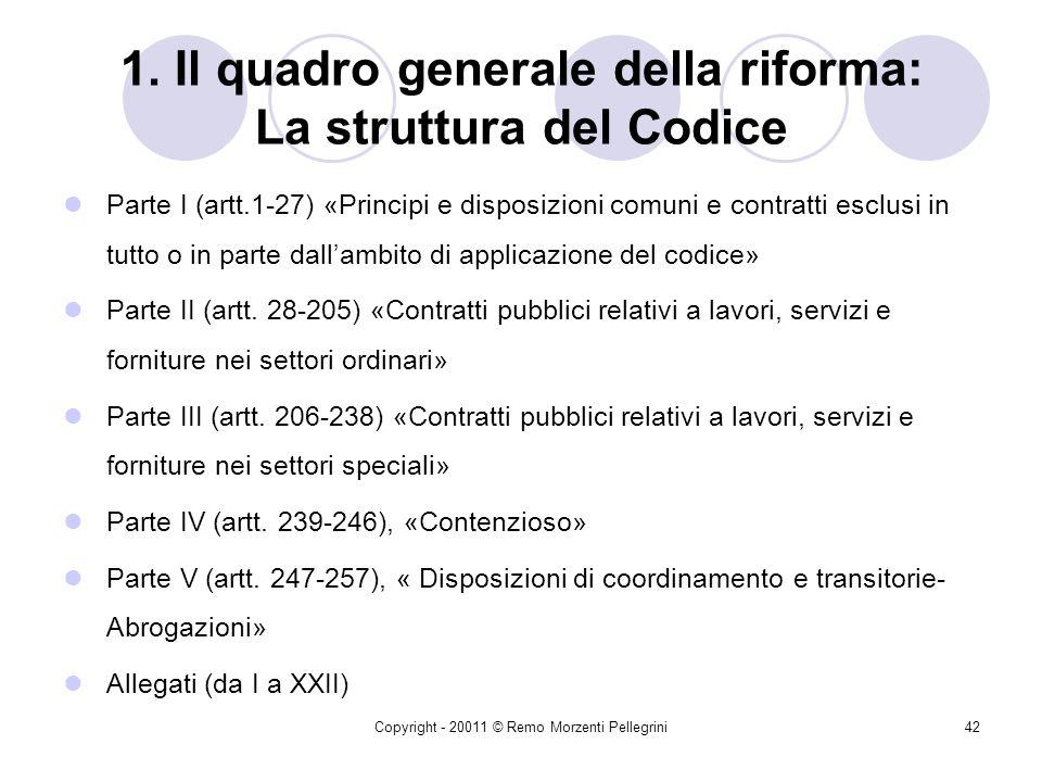 Copyright - 20011 © Remo Morzenti Pellegrini41 1. Il quadro generale della riforma: I principi ispiratori Ricezione delle Direttive comunitarie 2004/1