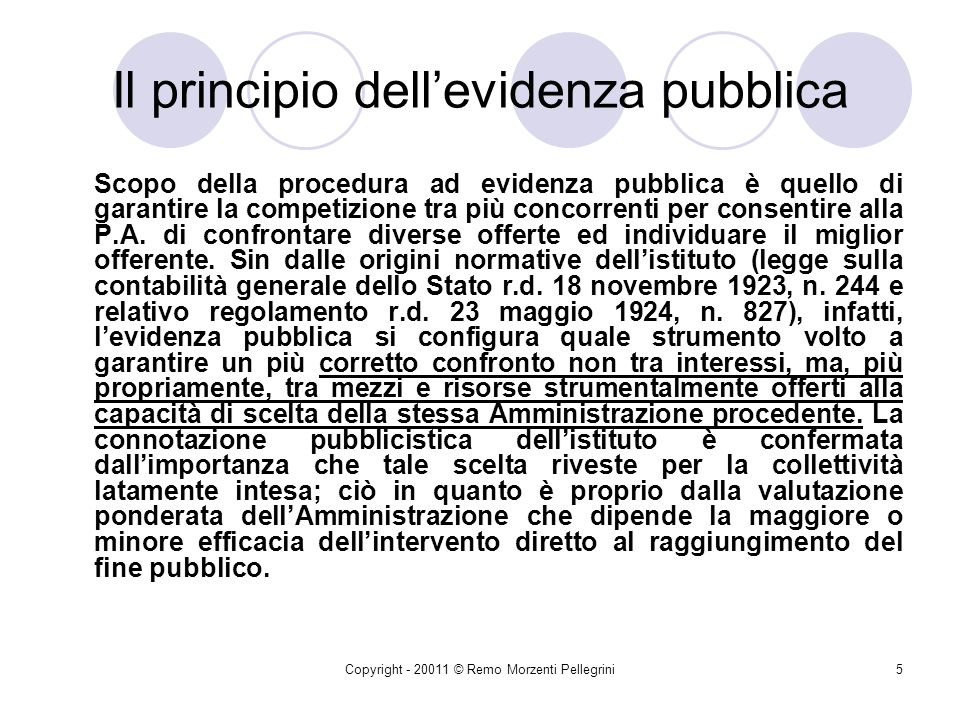Copyright - 20011 © Remo Morzenti Pellegrini4 Il principio dellevidenza pubblica Linerenza dellevidenza pubblica allattività istituzionale tipica dell