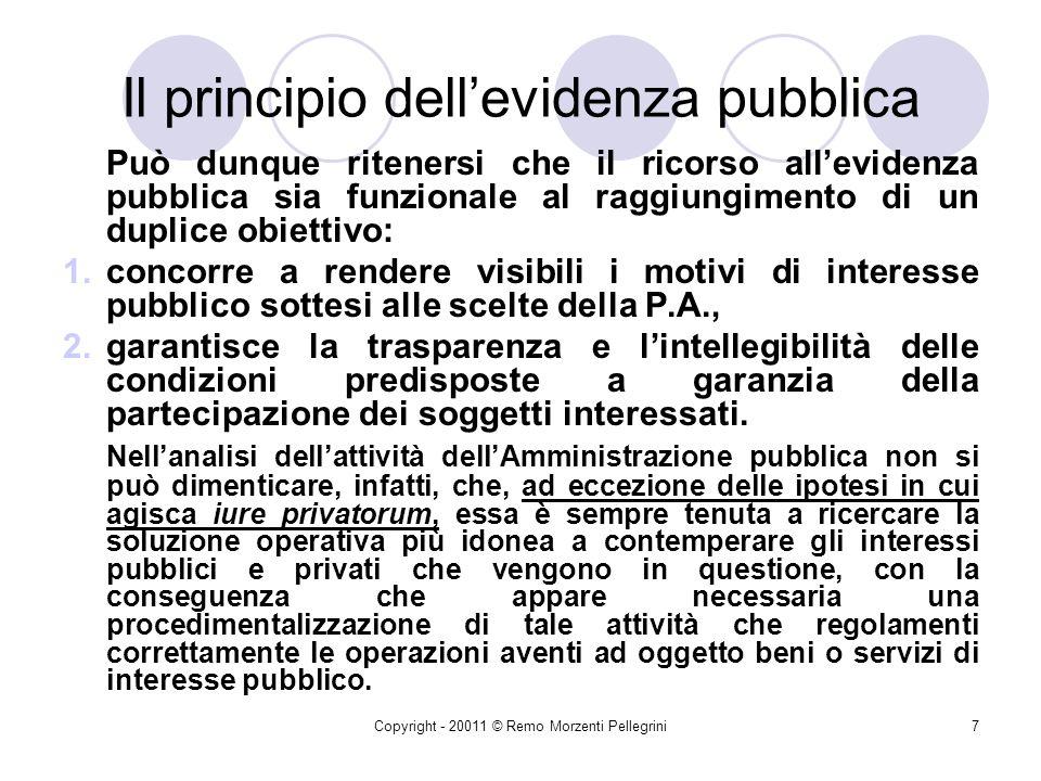 Copyright - 20011 © Remo Morzenti Pellegrini6 Il principio dellevidenza pubblica Le norme di gara che impongono il rispetto della modalità dellevidenz