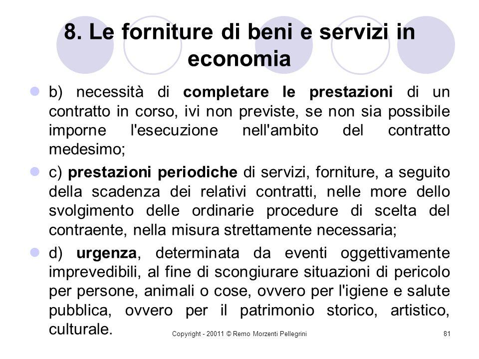 Copyright - 20011 © Remo Morzenti Pellegrini80 8. Le forniture di beni e servizi in economia 10. L'acquisizione in economia di beni e servizi è ammess