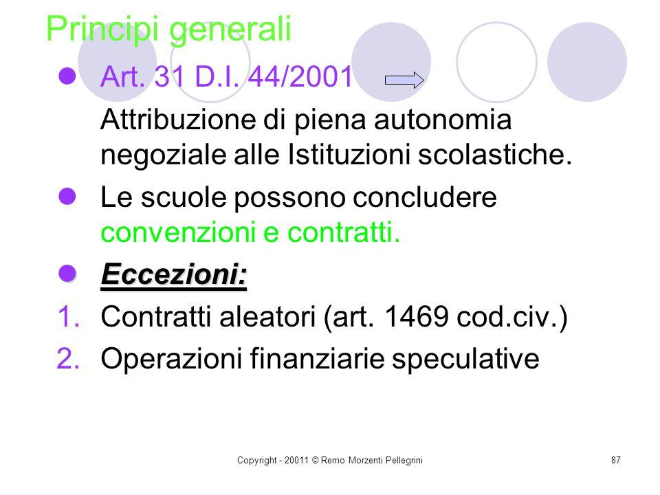 Copyright - 20011 © Remo Morzenti Pellegrini86 Attività negoziale nella scuola dellautonomia Titolo IV D.I. 44/2001 Capo IPrincipi generali Capo IISin