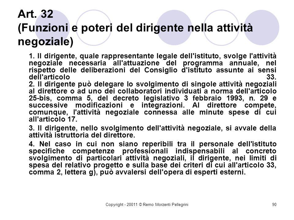 Copyright - 20011 © Remo Morzenti Pellegrini89 PRINCIPI GENERALI Art. 31 (Capacità negoziale) 1. Le istituzioni scolastiche, anche attraverso gli acco