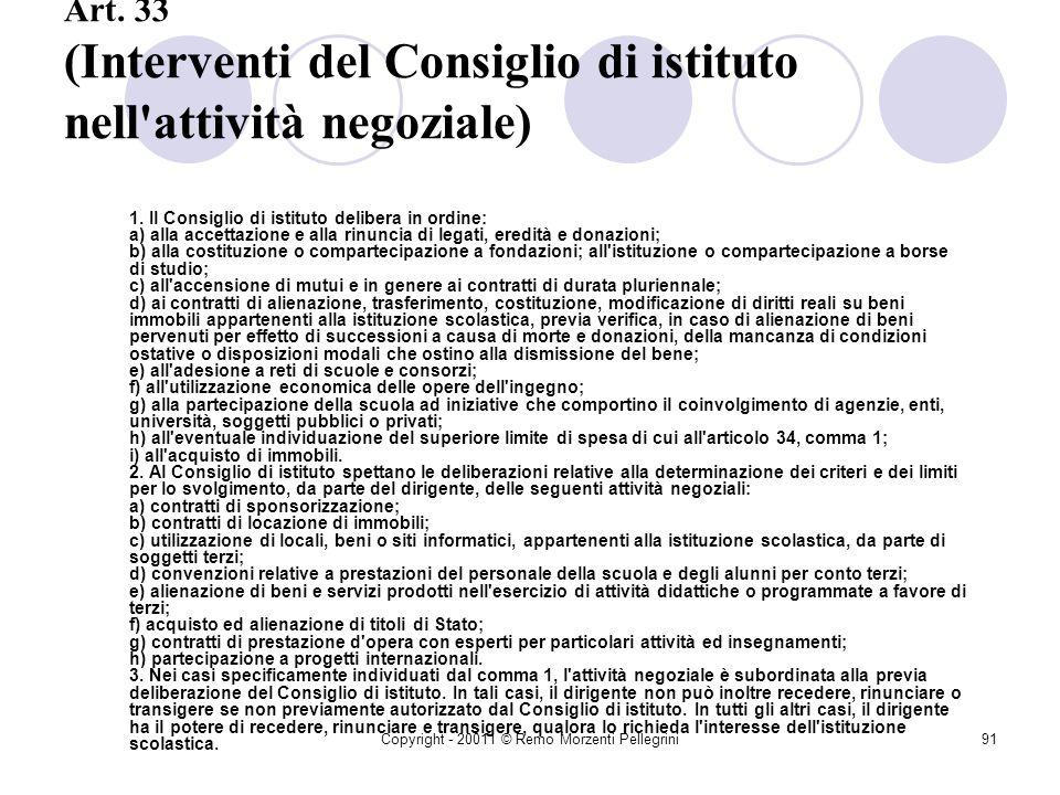 Copyright - 20011 © Remo Morzenti Pellegrini90 Art. 32 (Funzioni e poteri del dirigente nella attività negoziale) 1. Il dirigente, quale rappresentant