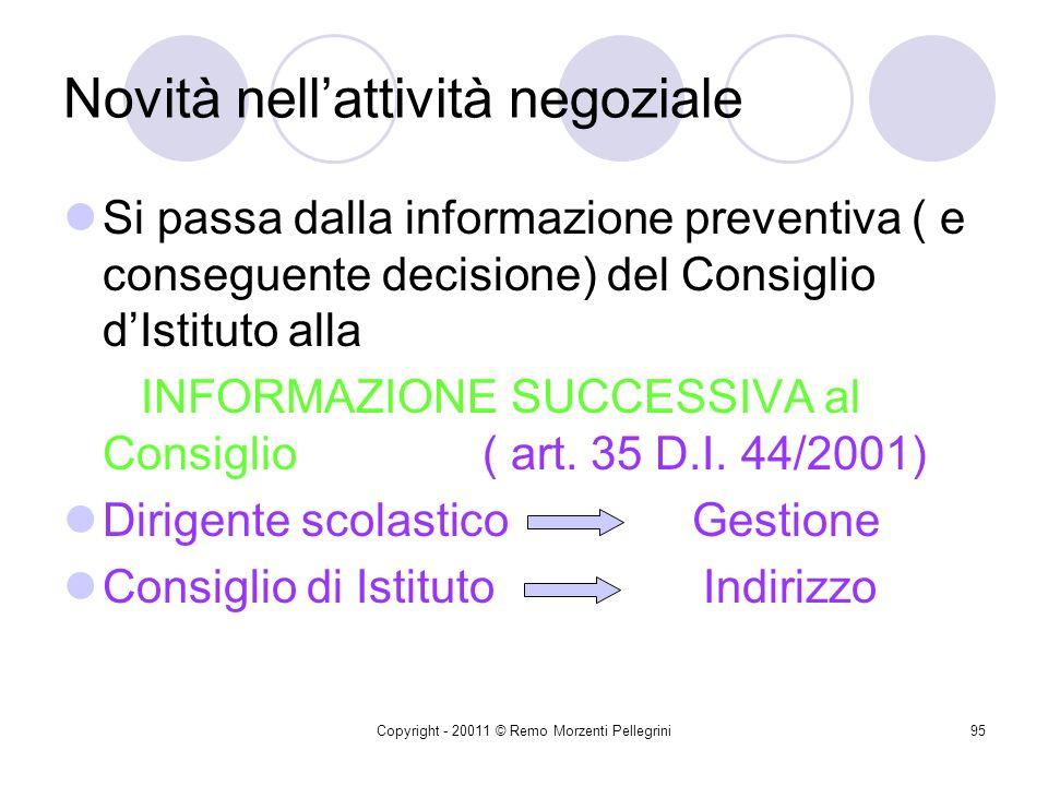 Copyright - 20011 © Remo Morzenti Pellegrini94 Principi generali Dirigente scolastico Legittimazione ad agire e a sottoscrivere i contratti e gli ordi