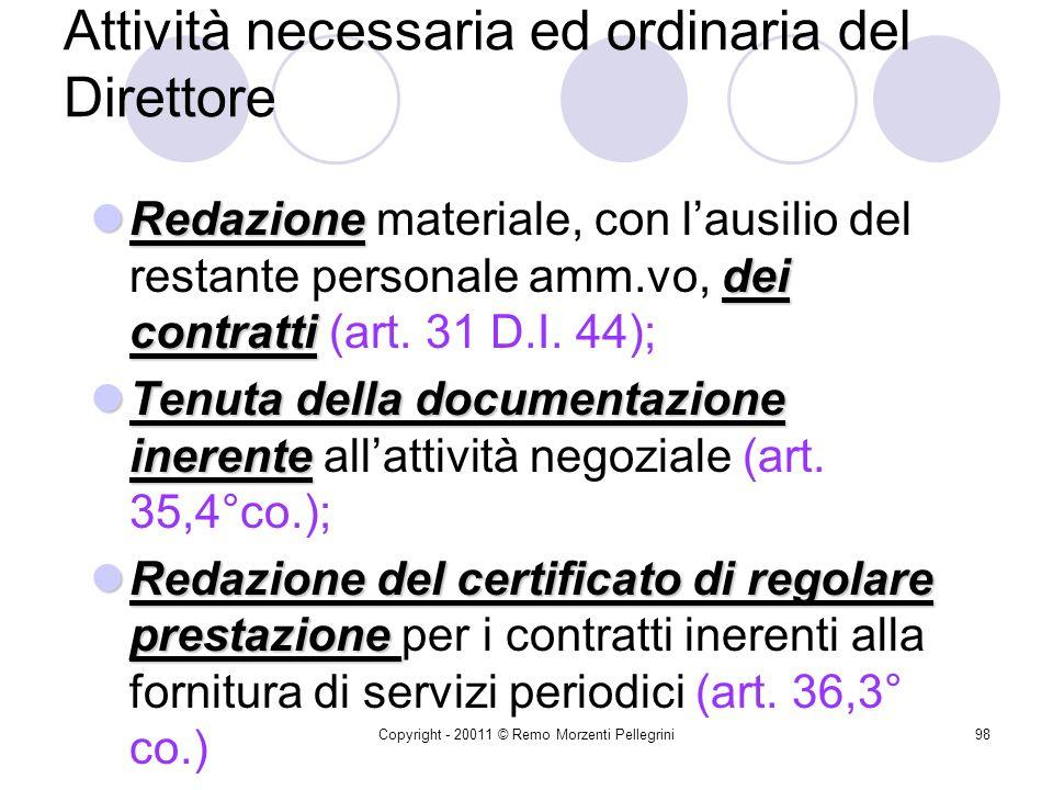 Copyright - 20011 © Remo Morzenti Pellegrini97 Attività necessaria ed ordinaria del Direttore minute spese Gestione dellattività negoziale connessa alle minute spese (art.