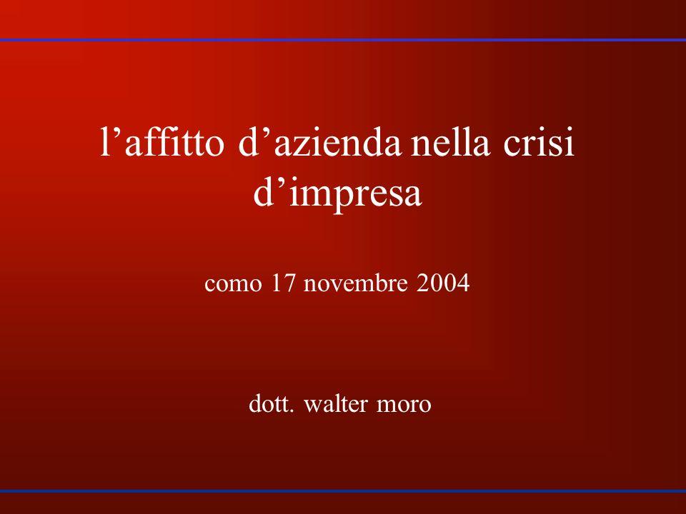 laffitto dazienda nella crisi dimpresa como 17 novembre 2004 dott. walter moro