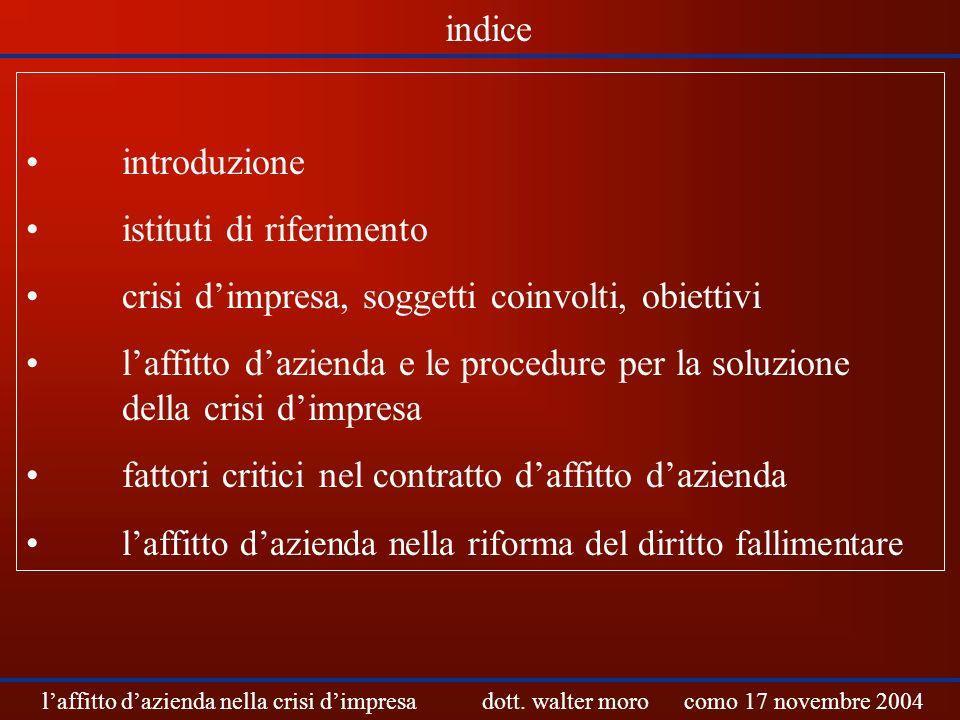 introduzione istituti di riferimento crisi dimpresa, soggetti coinvolti, obiettivi laffitto dazienda e le procedure per la soluzione della crisi dimpr