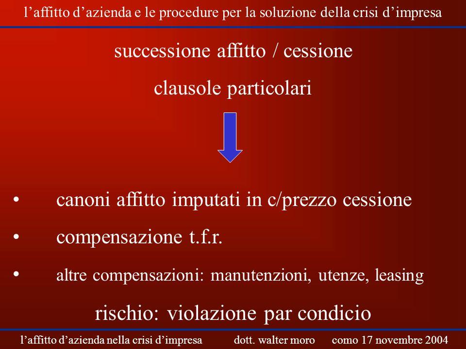 successione affitto / cessione clausole particolari canoni affitto imputati in c/prezzo cessione compensazione t.f.r. altre compensazioni: manutenzion