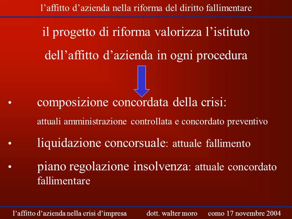 il progetto di riforma valorizza listituto dellaffitto dazienda in ogni procedura composizione concordata della crisi: attuali amministrazione control