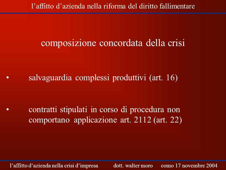 composizione concordata della crisi salvaguardia complessi produttivi (art. 16) contratti stipulati in corso di procedura non comportano applicazione