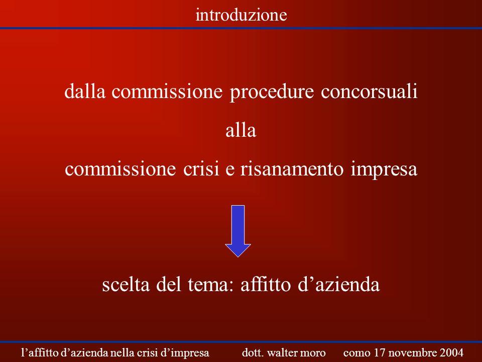 dalla commissione procedure concorsuali alla commissione crisi e risanamento impresa scelta del tema: affitto dazienda laffitto dazienda nella crisi d