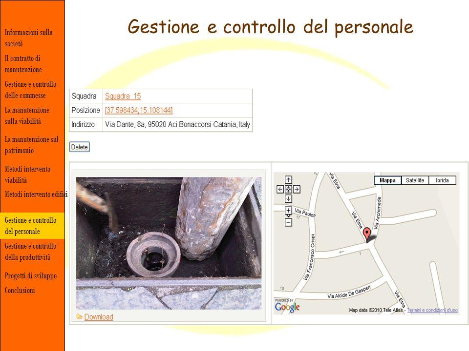Gestione e controllo del personale Informazioni sulla società Gestione e controllo delle commesse Il contratto di manutenzione La manutenzione sulla v