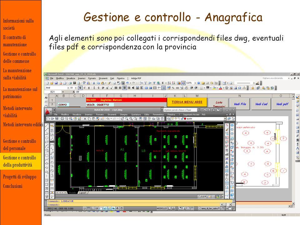 Gestione e controllo - Anagrafica Informazioni sulla società Gestione e controllo delle commesse Il contratto di manutenzione La manutenzione sulla vi