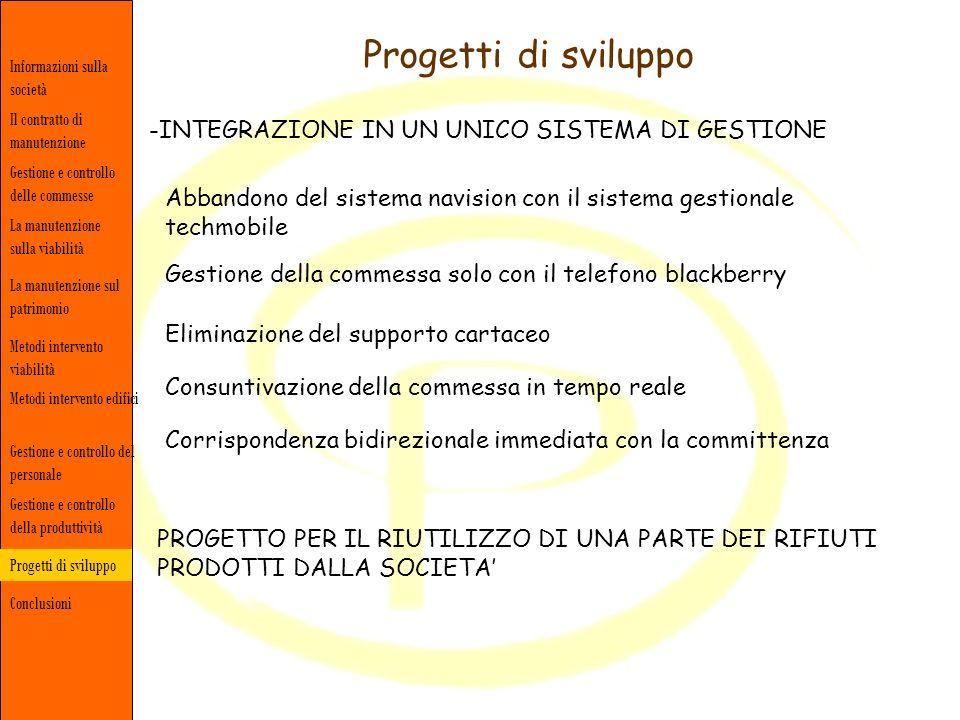 Progetti di sviluppo Informazioni sulla società Gestione e controllo delle commesse Il contratto di manutenzione La manutenzione sulla viabilità Concl