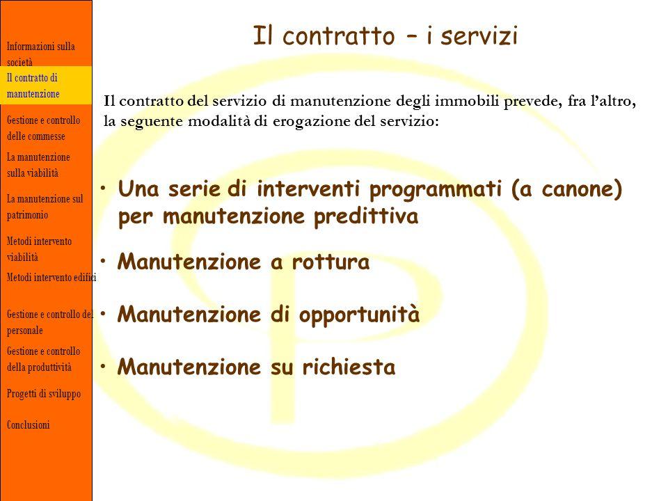 Il contratto – i servizi Il contratto del servizio di manutenzione degli immobili prevede, fra laltro, la seguente modalità di erogazione del servizio