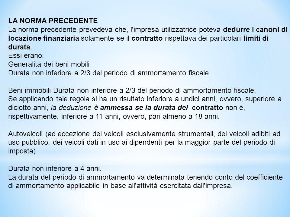 LA NORMA ATTUALE Per i contratti stipulati a partire dal 29 aprile 2012 i canoni di locazione finanziaria sono deducibili a prescindere dalla durata del contratto: Per la Generalità dei beni mobili in un tempo non inferiore a 2/3 del periodo di ammortamento fiscale.