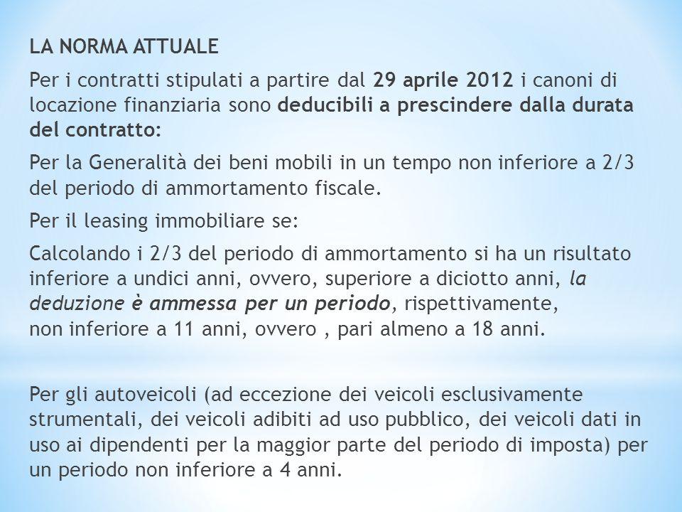 LA NORMA ATTUALE Per i contratti stipulati a partire dal 29 aprile 2012 i canoni di locazione finanziaria sono deducibili a prescindere dalla durata d
