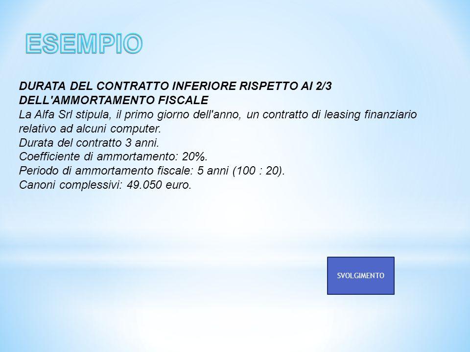 DURATA DEL CONTRATTO INFERIORE RISPETTO AI 2/3 DELL'AMMORTAMENTO FISCALE La Alfa Srl stipula, il primo giorno dell'anno, un contratto di leasing finan