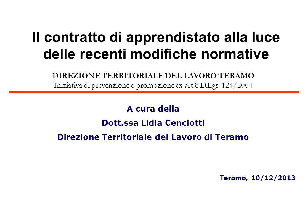 DIREZIONE TERRITORIALE DEL LAVORO TERAMO Iniziativa di prevenzione e promozione ex art.8 D.Lgs. 124/2004 A cura della Dott.ssa Lidia Cenciotti Direzio