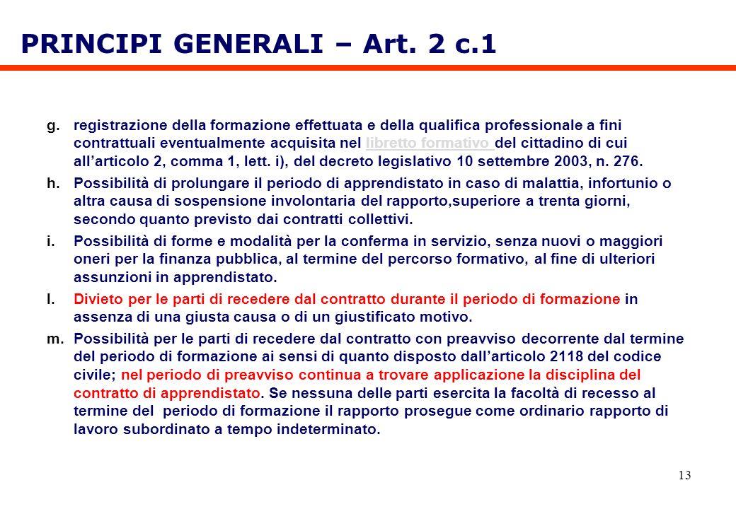 13 g.registrazione della formazione effettuata e della qualifica professionale a fini contrattuali eventualmente acquisita nel libretto formativo del