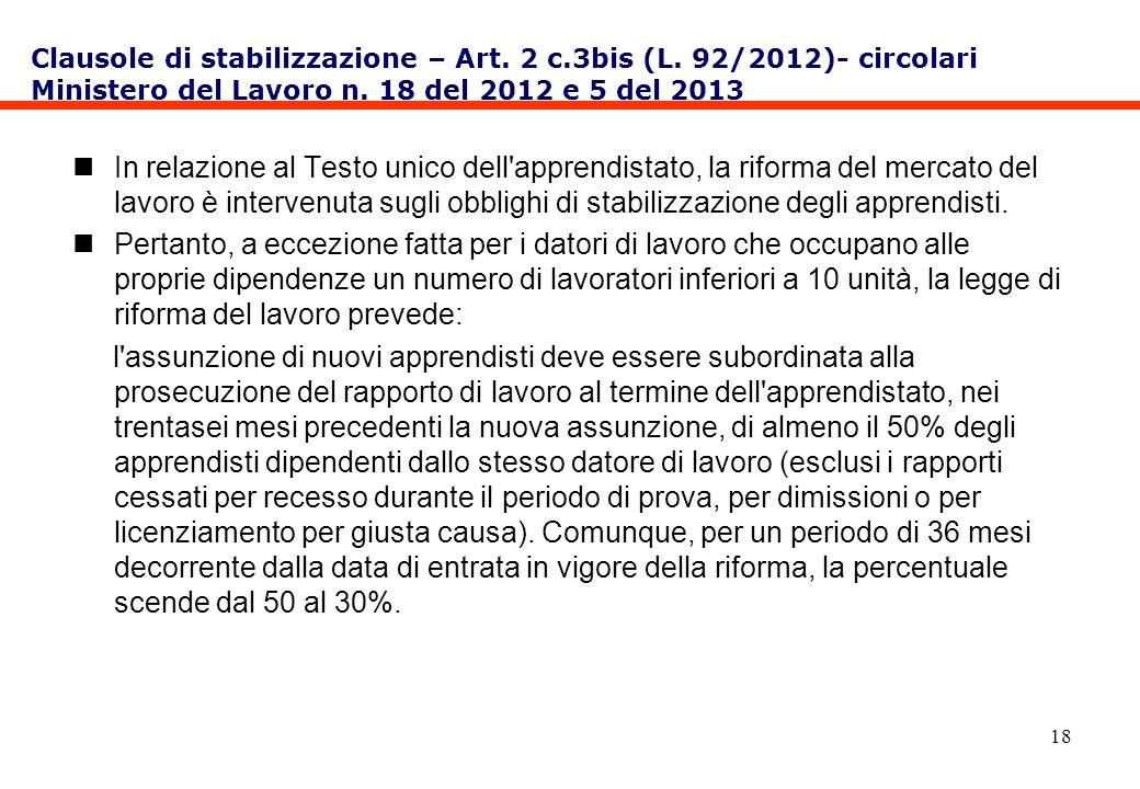18 In relazione al Testo unico dell'apprendistato, la riforma del mercato del lavoro è intervenuta sugli obblighi di stabilizzazione degli apprendisti