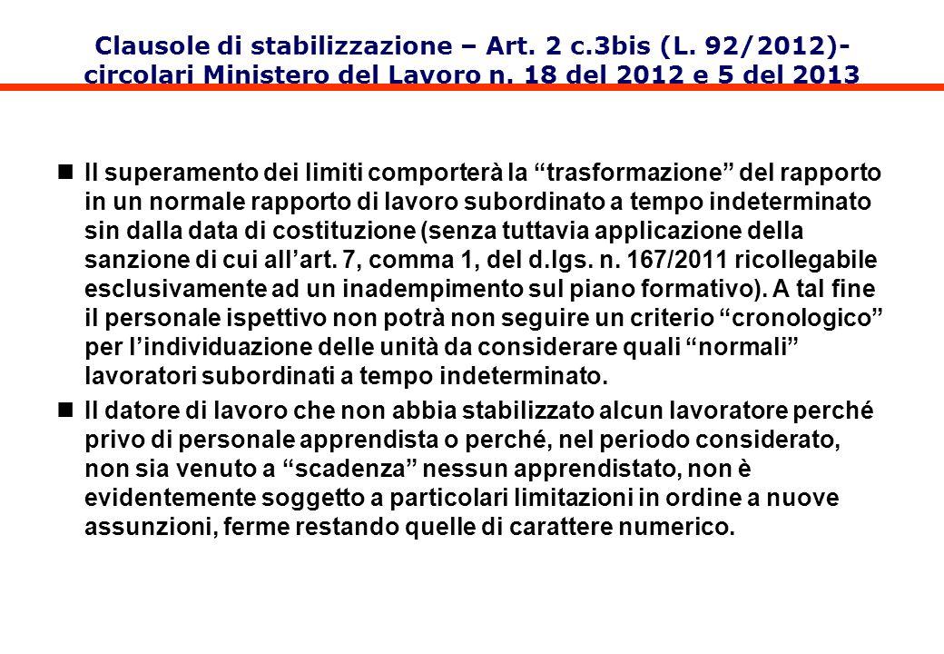 Clausole di stabilizzazione – Art. 2 c.3bis (L. 92/2012)- circolari Ministero del Lavoro n. 18 del 2012 e 5 del 2013 Il superamento dei limiti comport