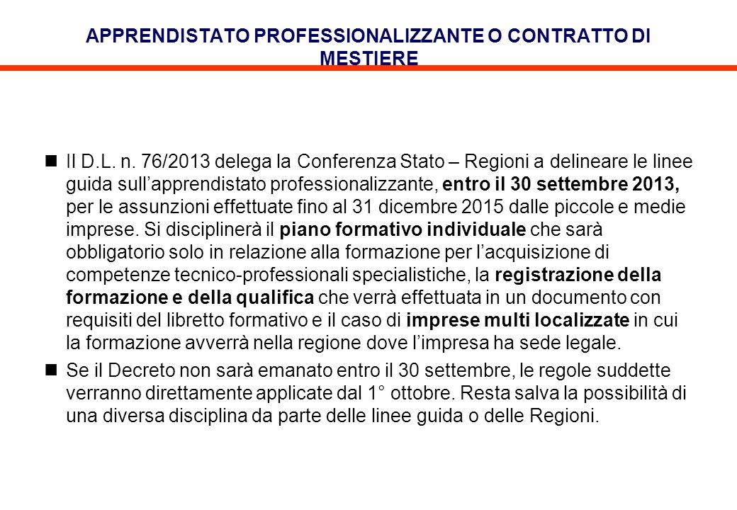 APPRENDISTATO PROFESSIONALIZZANTE O CONTRATTO DI MESTIERE Il D.L. n. 76/2013 delega la Conferenza Stato – Regioni a delineare le linee guida sullappre