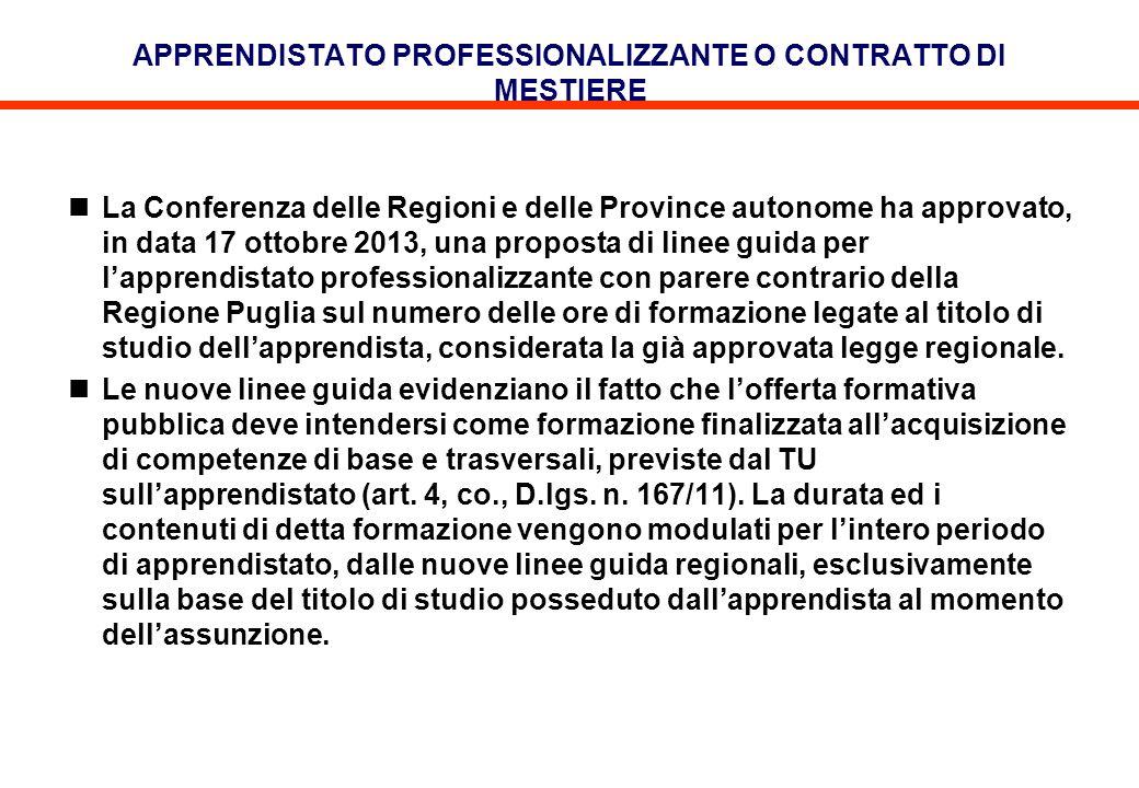 APPRENDISTATO PROFESSIONALIZZANTE O CONTRATTO DI MESTIERE La Conferenza delle Regioni e delle Province autonome ha approvato, in data 17 ottobre 2013,