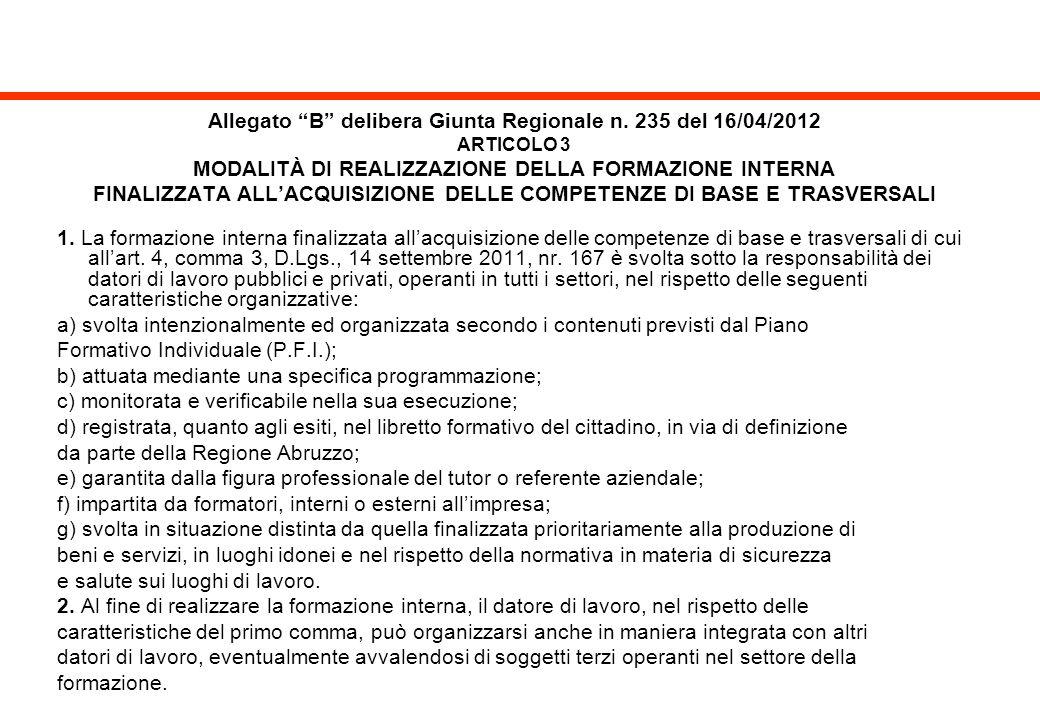 Allegato B delibera Giunta Regionale n. 235 del 16/04/2012 ARTICOLO 3 MODALITÀ DI REALIZZAZIONE DELLA FORMAZIONE INTERNA FINALIZZATA ALLACQUISIZIONE D