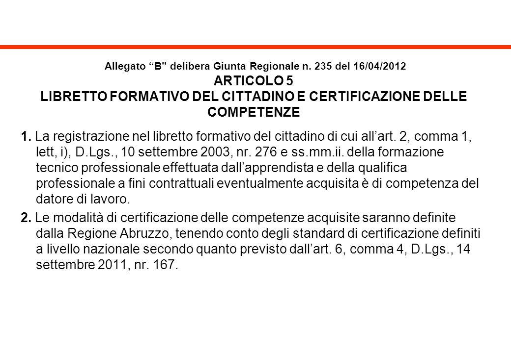 Allegato B delibera Giunta Regionale n. 235 del 16/04/2012 ARTICOLO 5 LIBRETTO FORMATIVO DEL CITTADINO E CERTIFICAZIONE DELLE COMPETENZE 1. La registr