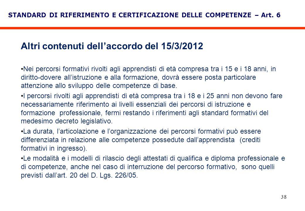 38 STANDARD DI RIFERIMENTO E CERTIFICAZIONE DELLE COMPETENZE – Art. 6 Altri contenuti dellaccordo del 15/3/2012 Nei percorsi formativi rivolti agli ap