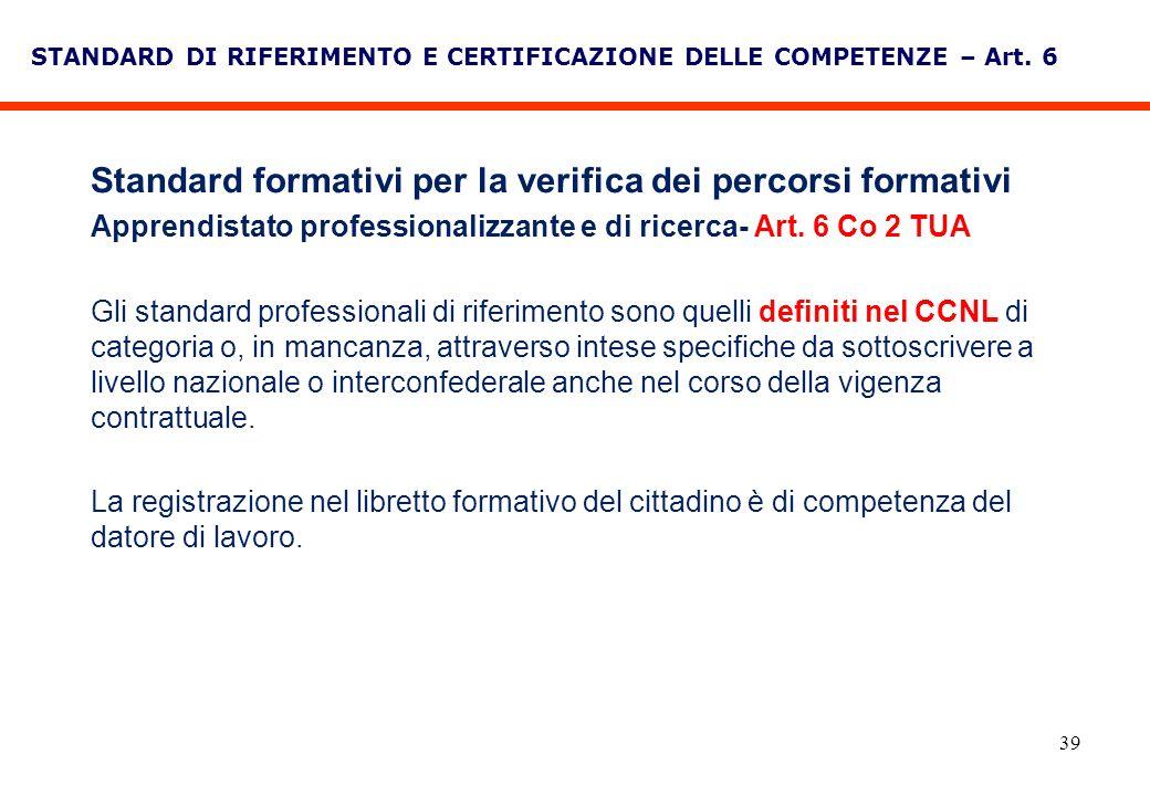 39 STANDARD DI RIFERIMENTO E CERTIFICAZIONE DELLE COMPETENZE – Art. 6 Standard formativi per la verifica dei percorsi formativi Apprendistato professi