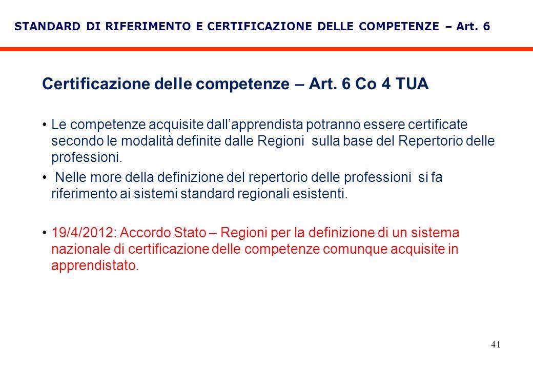 41 STANDARD DI RIFERIMENTO E CERTIFICAZIONE DELLE COMPETENZE – Art. 6 Certificazione delle competenze – Art. 6 Co 4 TUA Le competenze acquisite dallap