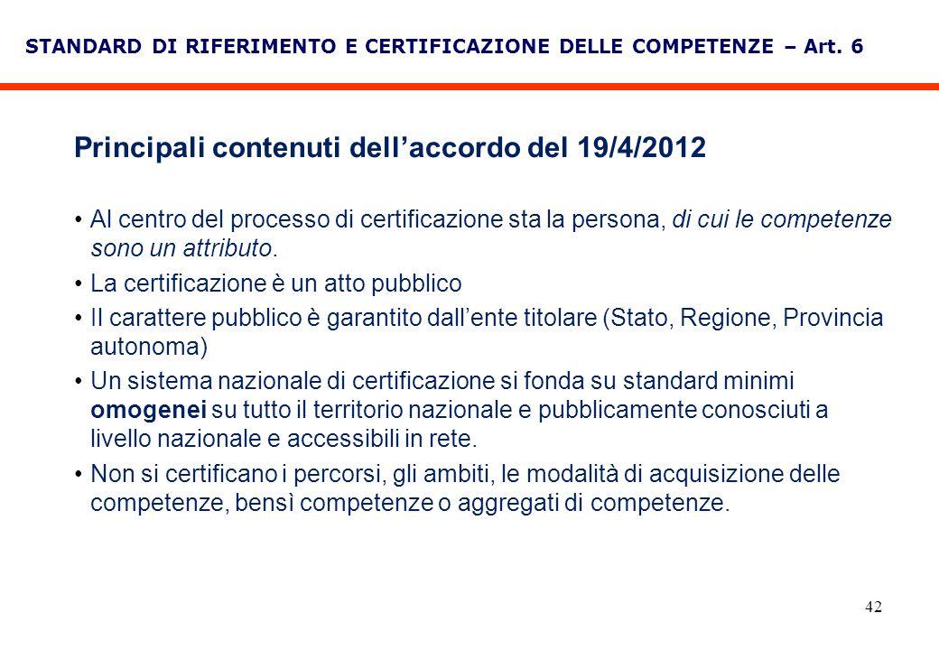 42 STANDARD DI RIFERIMENTO E CERTIFICAZIONE DELLE COMPETENZE – Art. 6 Principali contenuti dellaccordo del 19/4/2012 Al centro del processo di certifi