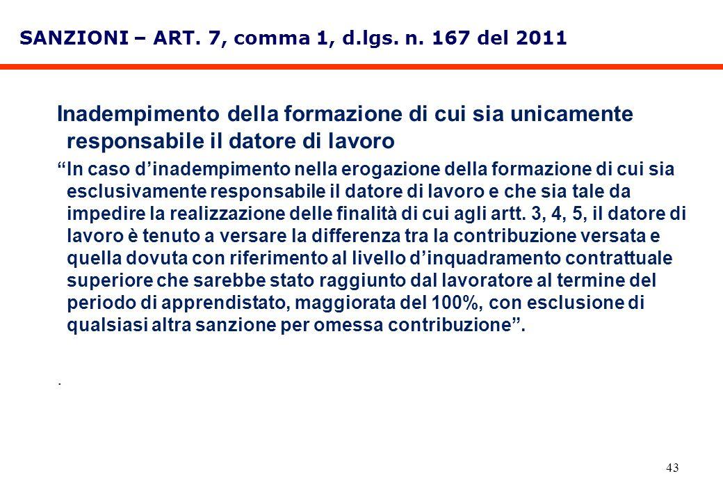43 SANZIONI – ART. 7, comma 1, d.lgs. n. 167 del 2011 Inadempimento della formazione di cui sia unicamente responsabile il datore di lavoro In caso di