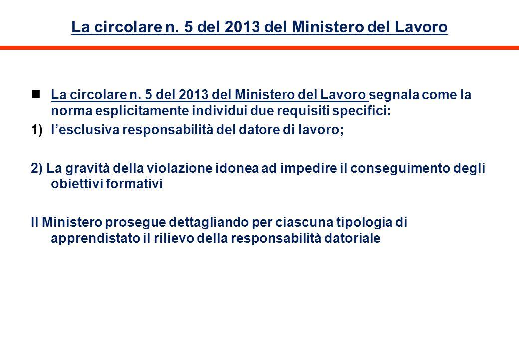 La circolare n. 5 del 2013 del Ministero del Lavoro La circolare n. 5 del 2013 del Ministero del Lavoro segnala come la norma esplicitamente individui