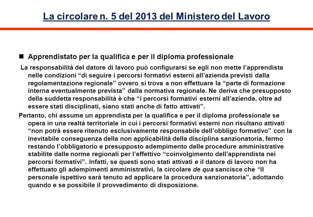 La circolare n. 5 del 2013 del Ministero del Lavoro Apprendistato per la qualifica e per il diploma professionale La responsabilità del datore di lavo