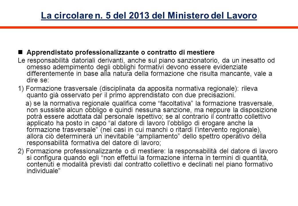 La circolare n. 5 del 2013 del Ministero del Lavoro Apprendistato professionalizzante o contratto di mestiere Le responsabilità datoriali derivanti, a