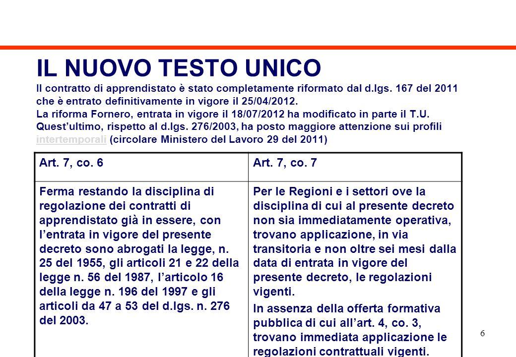 IL NUOVO TESTO UNICO Il contratto di apprendistato è stato completamente riformato dal d.lgs. 167 del 2011 che è entrato definitivamente in vigore il