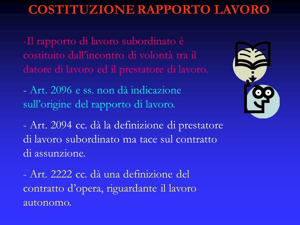 COSTITUZIONE RAPPORTO LAVORO -Il rapporto di lavoro subordinato è costituito dallincontro di volontà tra il datore di lavoro ed il prestatore di lavor