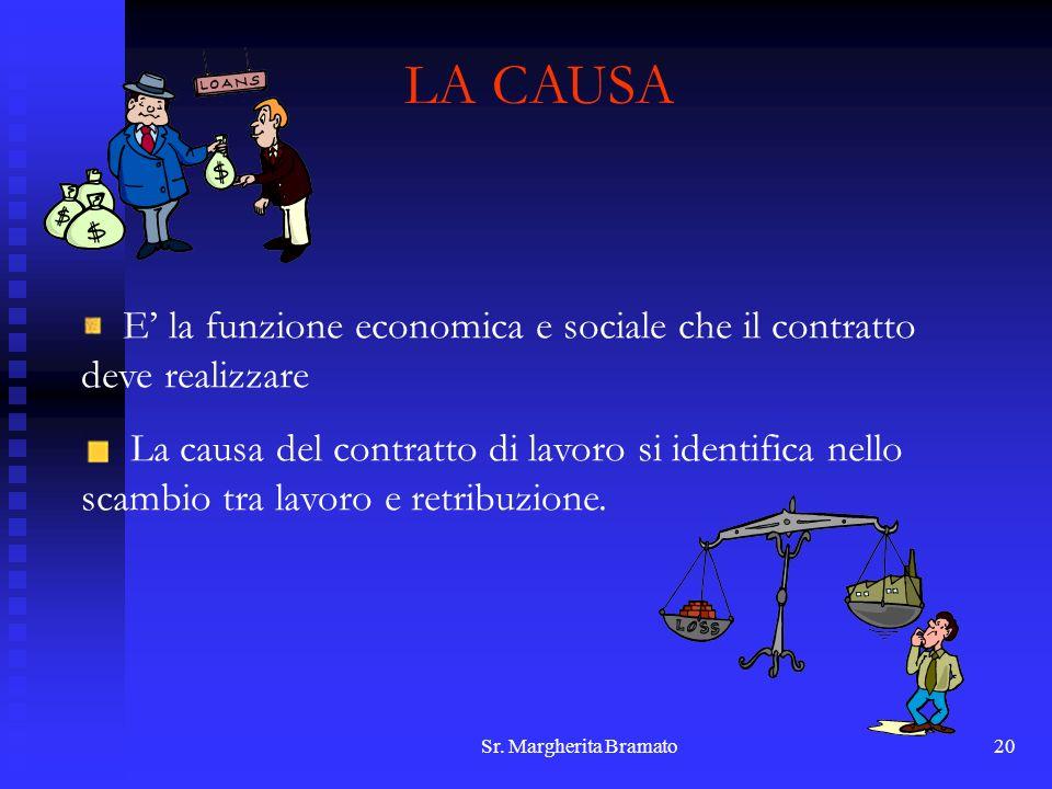 Sr. Margherita Bramato20 LA CAUSA E la funzione economica e sociale che il contratto deve realizzare La causa del contratto di lavoro si identifica ne