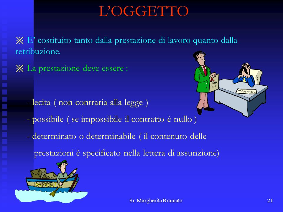 Sr. Margherita Bramato21 LOGGETTO E costituito tanto dalla prestazione di lavoro quanto dalla retribuzione. La prestazione deve essere : - lecita ( no