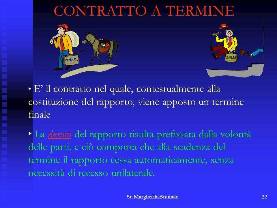 Sr. Margherita Bramato22 CONTRATTO A TERMINE E il contratto nel quale, contestualmente alla costituzione del rapporto, viene apposto un termine finale