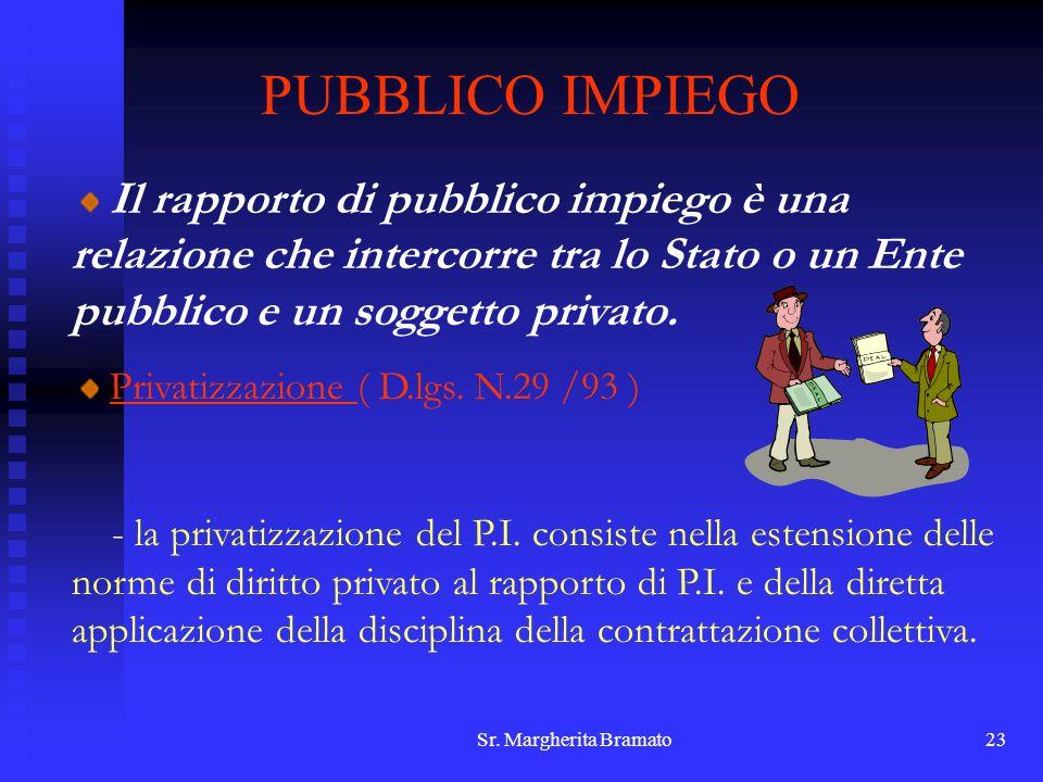 Sr. Margherita Bramato23 PUBBLICO IMPIEGO Il rapporto di pubblico impiego è una relazione che intercorre tra lo Stato o un Ente pubblico e un soggetto