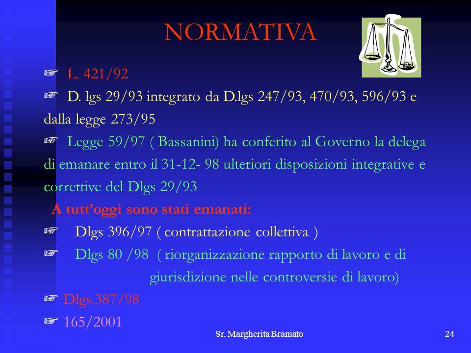 Sr. Margherita Bramato24 NORMATIVA L. 421/92 D. lgs 29/93 integrato da D.lgs 247/93, 470/93, 596/93 e dalla legge 273/95 Legge 59/97 ( Bassanini) ha c