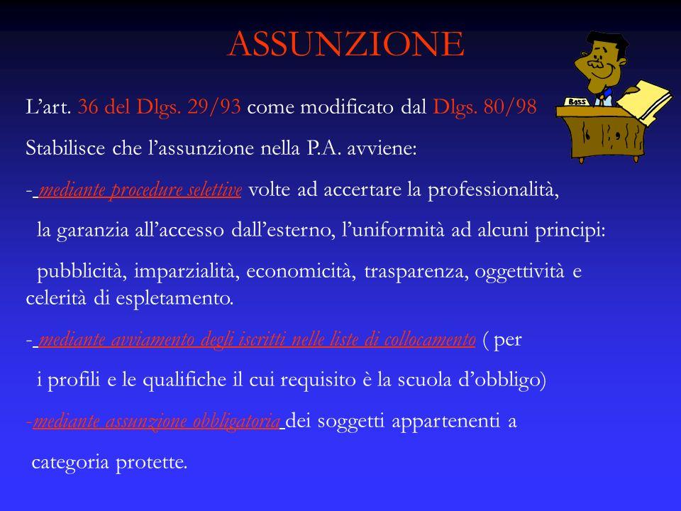 ASSUNZIONE Lart. 36 del Dlgs. 29/93 come modificato dal Dlgs. 80/98 Stabilisce che lassunzione nella P.A. avviene: - mediante procedure selettive volt