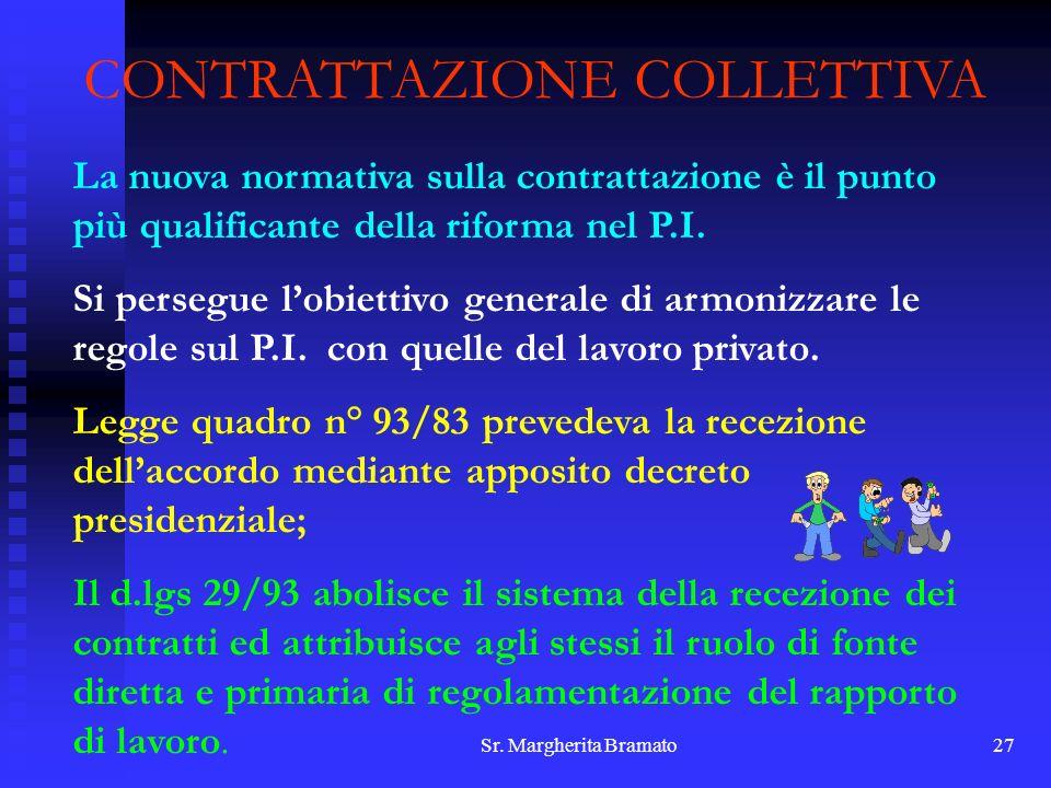 Sr. Margherita Bramato27 CONTRATTAZIONE COLLETTIVA La nuova normativa sulla contrattazione è il punto più qualificante della riforma nel P.I. Si perse