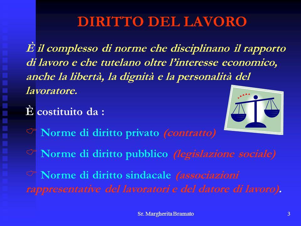 Sr. Margherita Bramato3 DIRITTO DEL LAVORO È il complesso di norme che disciplinano il rapporto di lavoro e che tutelano oltre linteresse economico, a