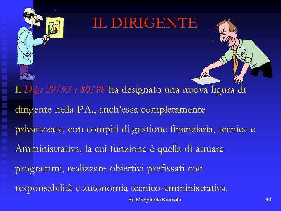 Sr. Margherita Bramato30 IL DIRIGENTE Il D.lgs 29/93 e 80/98 ha designato una nuova figura di dirigente nella P.A., anchessa completamente privatizzat